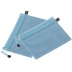 Double-deck Zipper Stil A5 Leinwand Document Bag - Sky Blue (2 PCS)