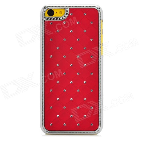 Protective Rhinestone Starry Style Back Case for Iphone 5C - Deep Red + Silver protective heart shape rhinestone decoration back case for iphone 5 brown