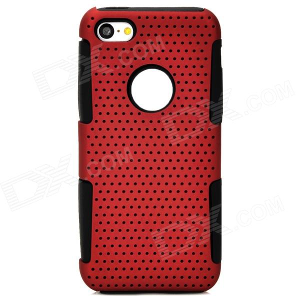 Y-4-2-6 Protective PC + Silicone Back Case for Iphone 5C - Deep Red + Black elegance tpu pc hybrid back case with kickstand for iphone 7 plus 5 5 inch red