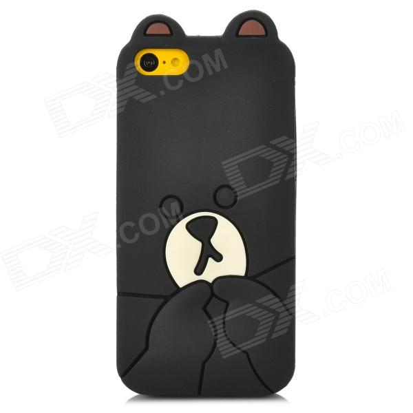 3D Cartoon Bear Style Protective Silicone Case for Iphone 5C - Black + Beige top lcd iphone 5c