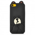3D Cartoon Bear Style Protective Silicone Case for Iphone 5C - Black + Beige