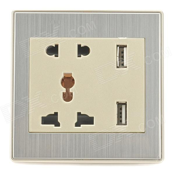 B62 Universal 2-Power Socket Wall Mount Plate w/ Dual-USB - Champagne + White (110~250V) white square wall mounted three phase four wire outlet socket plate 380vac 25a