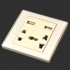 B62 Universal 2-Power Socket Wall Mount Plate w/ Dual-USB - Champagne + White (110~250V)