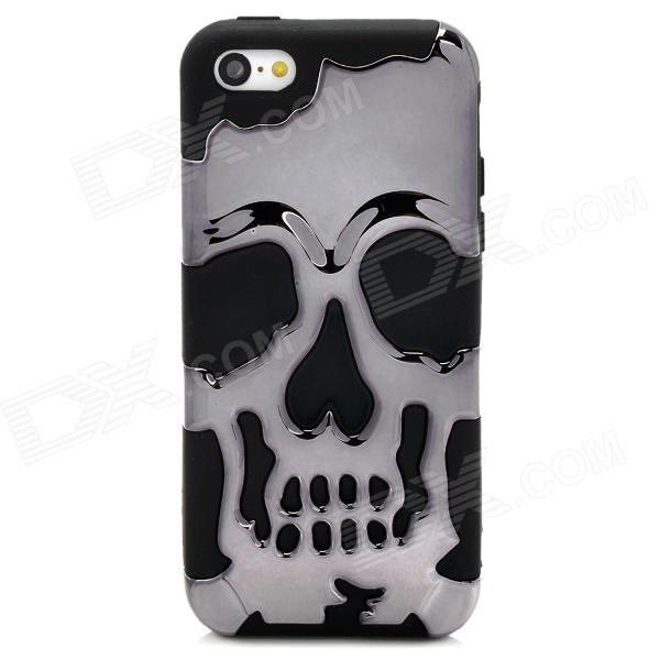 3D Skeleton Protective Silicone + TPU Back Case for Iphone 5C - Celadon + Black 3d skeleton protective silicone tpu back case for iphone 5c purplish red black