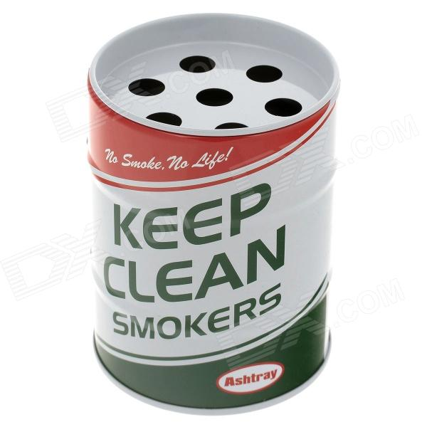 0615Creative Oil Drum Shaped Stainless Steel Ashtray / Pen Holder - White + Green + Red ashtray