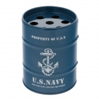 Oil Drum Shaped U.S.NAVY Pattern Stainless Steel Ashtray / Pen Holder - Blue + White