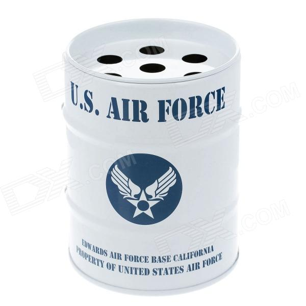 Oil Drum Shaped U.S.AIR FORCE Pattern Stainless Steel Ashtray / Pen Holder - Blue + White auto ashtray cup shaped shiny finish with hook