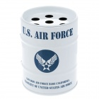 Oil Drum Shaped U.S.AIR FORCE Pattern Stainless Steel Ashtray / Pen Holder - Blue + White