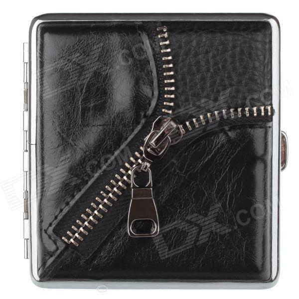 Zipper Style PU Leather + Stainless Steel Double-Sided Cigarette Case - Black (Holds 20 PCS)