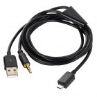 Micro USB Male to 3.5mm TRS + USB Male Car AUX Cable for Samsung Galaxy S3 i9300 - Black (117cm)