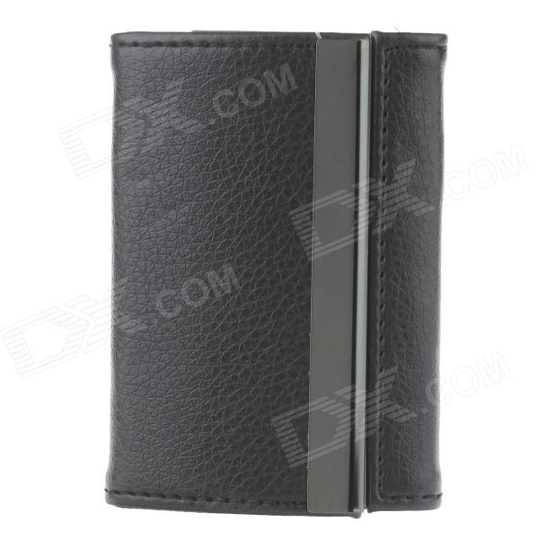Double Side PU Leather + Aluminum Alloy Portable Cigarette Case / Card Holder - Black (Holds 14 PCS) hiinst black portable and durable waterproof portable carrying storage aluminum alloy case box for spark drop aug15