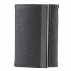 Double Side PU Leather + Aluminum Alloy Portable Cigarette Case / Card Holder - Black (Holds 14 PCS)