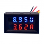 "0.28"" LED 4-Digital Dual-Display DC Ammeter Voltmeter - Black (Red Amp / Blue Volt / 0~100V / 50A)"
