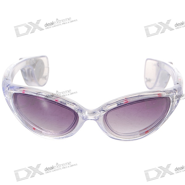 3-Mode LED Flashing Cool Glasses – White Frame/Purple LED (1*CR2032)