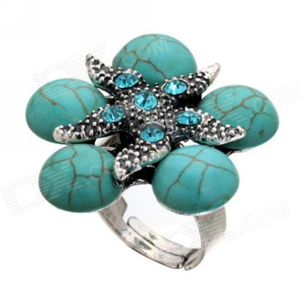 eQute Turquoise Big Flower Adjustable Finger Ring - Blue + Antique Silver
