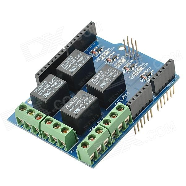 цена на Relay Shield v0.9b 5V 4-Channel Relay Module for Arduino - (Works with official Arduino Boards)