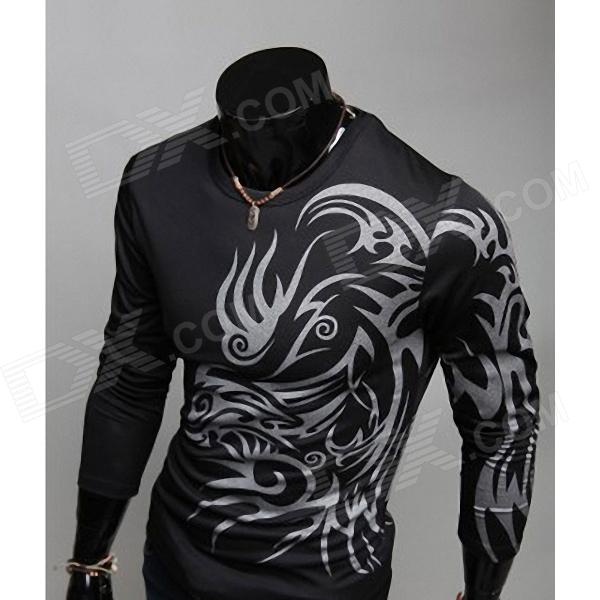 Tattoo Style Round Neck Long-Sleeve Slim Fit T-Shirt for Men - Black (Size-XXL)