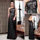 DORISQUEEN Lace Transparent Evening Gown One Design as Stars' One Shoulder w/ Rhinestone - Black