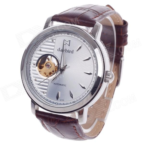 Daybird 3772 Double-Sided Skeleton Automatic Unisex Analog Wrist Watch - Brown + Golden + Silver zlimsn high quality thick genuine leather watchbands 20 22 24 26mm brown watch strap 316l brushed silver stainless steel buckle