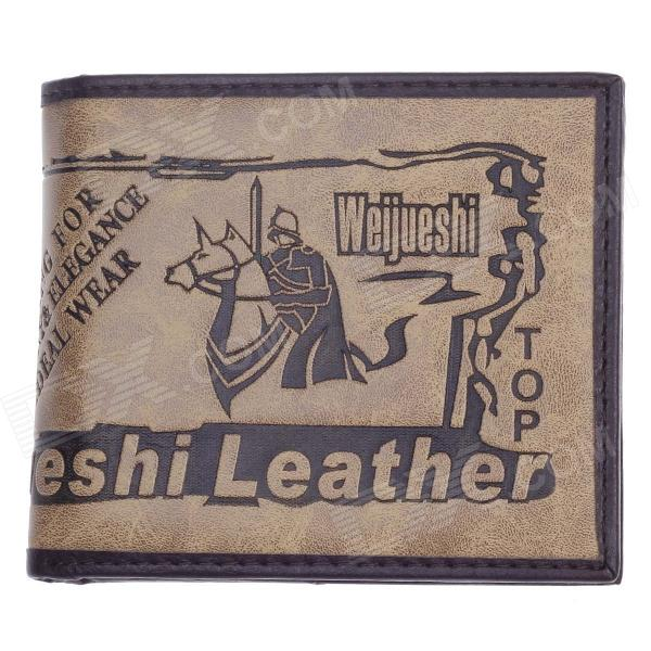 WEIJUESHI 238# Vogue PU Leather Folding Men's Wallet - Khaki + Brown