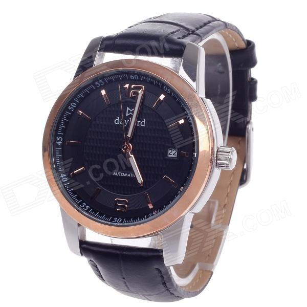 Daybird 3789 Automatic Mechanical Men's Wrist Watch w/ Simple Calendar - Black + Silver + Rose Gold 40mm corgeut white sterile dial rose gold case miyota automatic mens watch