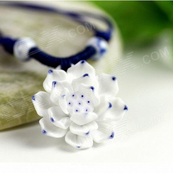 Stylish Blue And White Porcelain Lotus Women's Necklace - White
