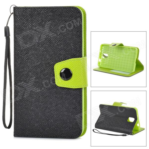 Protective PU Leather Case for Samsung N9006 / N9000 / N9002 / N9005 / N908 / N909 - Black + Green protective pu leather case w battery back cover for samsung n9006 n9002 n9005 n9000 deep pink