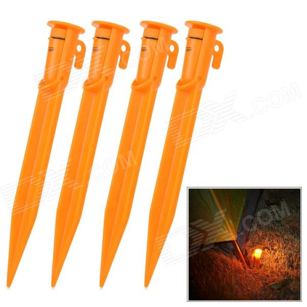 Naturehike Convenient ABS Tent Peg w/ Built-in LED Light for Camping - Orange (4 PCS) (4 x L41)