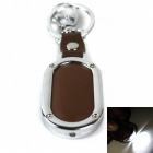 PU Leather 1-LED Keychain - Brown (1 x CR2032)