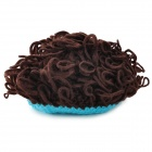 Fashion Baby Cap w/ Artificial Hair - Coffee + Blue