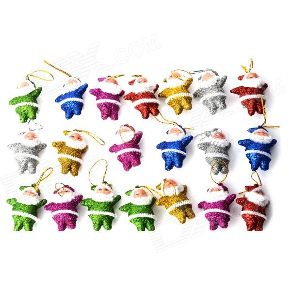 01020 Cute Shiny Little Santa Claus Decorative Doll for Christmas - Multicolored (20 PCS)