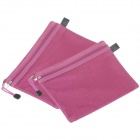 Double-deck Zipper Stil A5 Leinwand Document Bag - Deep Pink (2 PCS)