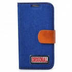 PU Leather + Denim + TPU Protective Case for Samsung S4 / i9500 - Dark Blue + Brown