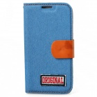 PU Leather + Denim + TPU Protective Case for Samsung S4 / i9500 - Light Blue + Brown
