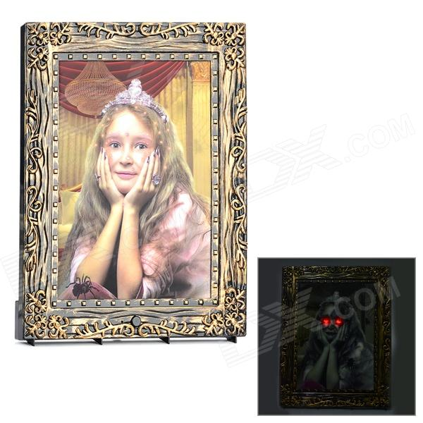 Gothic Style Electronic Sensing Ghost Photo Frame for Halloween - Brown (2 x AA)