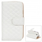 Rhombus Style Protective PU Leather Case for Samsung Galaxy S4 i9500 - White