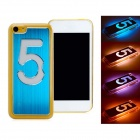 Calling Flash Protective Plastic Back Case w/ Aluminum Alloy Skin for Iphone 5C - Blue (1 x CR2016)