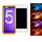 Calling Flash Protective Plastic Back Case w/ Aluminum Alloy Skin for iPhone 5c - Purple(1 x CR2016)