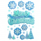 CKA1009 Christmas Tree / Snowflake Pattern Bedroom Wall Decorative Sticker - Green + Blue + Silver