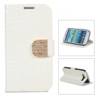 Protective PU Leather Case w/ Rhinestone Close Button for Samsung Galaxy S3 i9300 - White