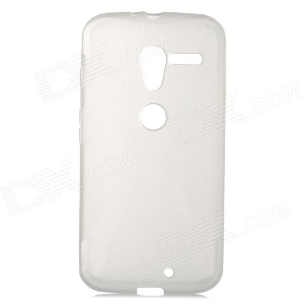 Anti-Slip Protective TPU Back Case for Motorola X Phone - Translucent White protective silicone case for nds lite translucent white