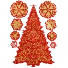 CKA1006 Christmas Tree + Snowflake Pattern Bedroom Wall Decorative Sticker - Red + Golden + White