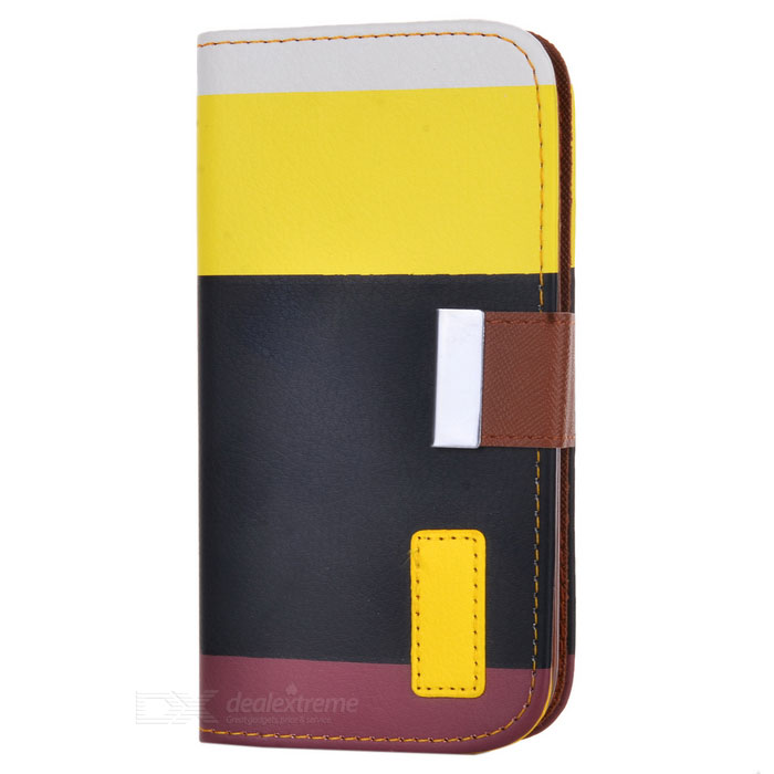 SN217 Protective PU Leather Case for Samsung Galaxy S4 i9500 - White + Yellow + Black + Red Brown