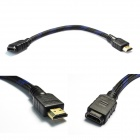 Ourspop HC06 1080P HDMI v1.4 Male to Female Cable for Google TV / Apple TV / HDTV - Black (30cm)