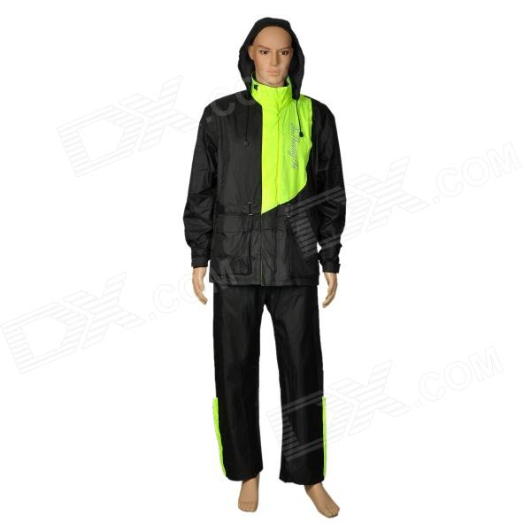XSX AR801 Fashionable Motorcycle Cycling Raincoat + Rain Pants Suit - Black + Green (Size L)  2017 motoboy motocross riding sports car split raincoat rain pants suit professional male motorcycle rain gear and equipment