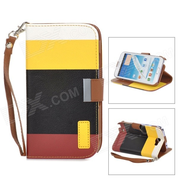 SN216 Protective PU Leather + Plastic Case for Samsung N7100 - White + Yellow + Black + Red Brown protective pu leather pouch case for samsung n7100 black