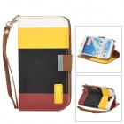 SN216 Protective PU Leather + Plastic Case for Samsung N7100 - White + Yellow + Black + Red Brown