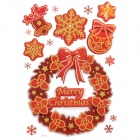 CKA1012 Christmas Bell / Snowflake / Bow Pattern Bedroom Decorative Sticker - Red + Golden + White