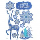 CKA1001 Christmas Elk / Snowflake Pattern Bedroom Wall Decorative Sticker - White + Blue + Silver