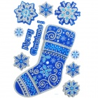 CKA1007 Christmas Stocking Pattern Bedroom Wall Decorative Sticker - White + Blue + Silver